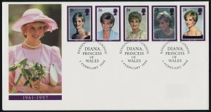 Great Britain 1795a on Pink Hat Cachet FDC -  Princess Diana, Royalty