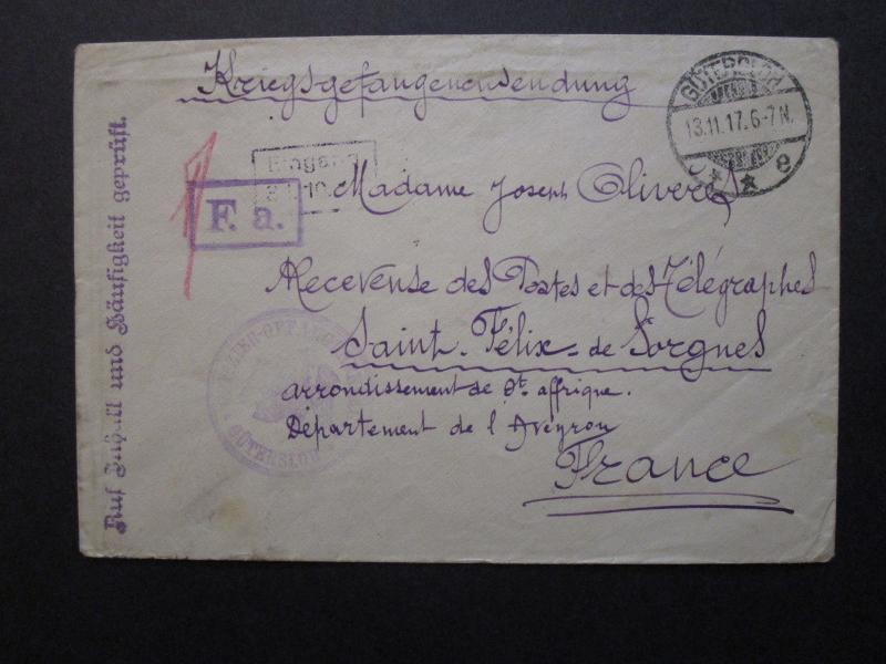 France / Germany 1917 Military Cover from Gutersloh to France - Z7086