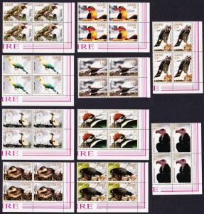 Zaire Birds 10v Blocks of 4 T2 SG#1133-1142 SC#1091-1100 MI#792-801