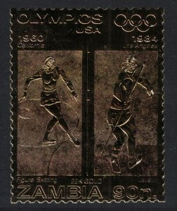 Zambia US Olympic Champions Figure Skating Javelin on GOLD Foil MI#D317