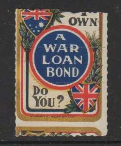 Australia War Loan Bond Promotion Poster Stamp Misperf MH OG