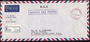 NEW HEBRIDES 1970 Official registered cover POSTAGE PAID VILA cds.......32143