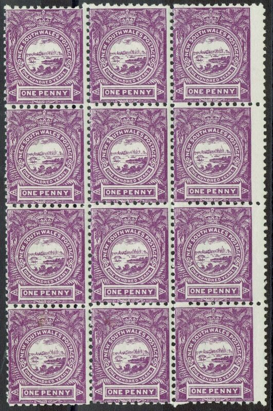 NEW SOUTH WALES 1888 CENTENARY 1D VIEW MNH ** BLOCK WMK CROWN/NSW PERF 11 X 12
