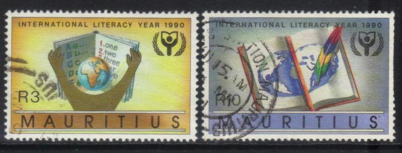 MAURITIUS  1990 INTL LITERACY YEAR 2 USED VALUES CAT £16+