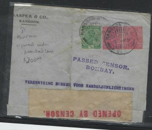 BURMA  (P0209B) INDIA USED IN KGV 1914 1/2A+1AX2 CENSOR COVER RANGOON TO HOLLAND