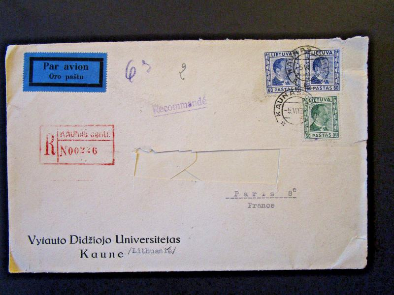 Lithuania 1937 Airmail Cover to France / Address Cut Out (II) - Z5386