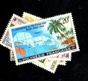 FR POLYNESIA #186-90 195 198 USED FVF Cat $22