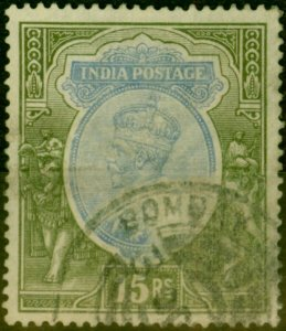 India 1913 15R Blue & Olive SG190 Good Used
