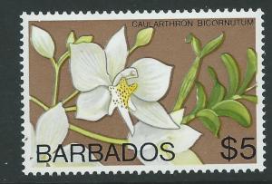 BARBADOS SG523 1975 $5 ORCHID WMK DIAGONAL MNH