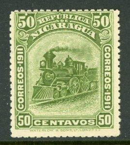 Nicaragua 1912 Bluefields Waterlow Train 50¢ Green Scott 1L120 Mint W460