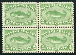 Newfoundland 1880 SG46 2c yellow-green Fine Mint Block of Four
