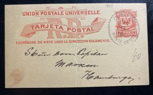 1891 Monte Cristo Dominican Rep Stationery Postcard Cover To Hamburg Germany