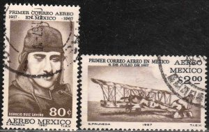 MEXICO C325-C326, 50th Anniversary of the 1st Air Mail Flightt USED VF. (1222)