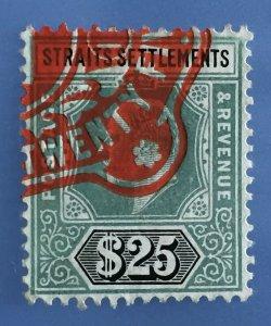 MALAYA STRAITS SETTLEMENTS 1906 KEVII FISCAL REVENUE $25 Used SG#139 M3301