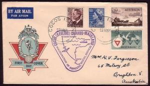 COCOS ISLAND 1955 Australia franking on first flight cover.............37281