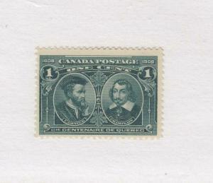 CANADA (MK1570) # 97  FVF-MNH  1cts JULY 1908  CARTIER & CHAMPLAIN CAT VAL $120