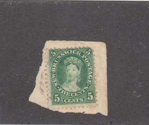 NEW BRUNSWICK # 8 VF-USED ON PIECE QUEEN VICTORIA / YELLOW-GREEN  CAT VALUE $10