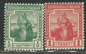 Trinidad & Tobago 97-99 SG 146-47 MLH F/VF 1909 SCV $25.00