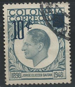 Colombia #698 10c on 3c Jorge Eliecer Gaitan