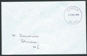 NORFOLK IS 1995 local cover postage paid in cash - Violet cds..............42785