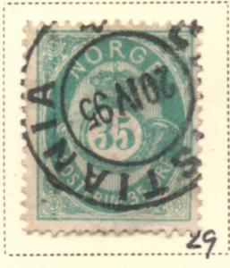 Norway Sc 29 1878 35 ore blue green Post Horn stamp used