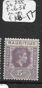 MAURITIUS (P3001B) KGVI  5C SG 255 FEB 38     MOG