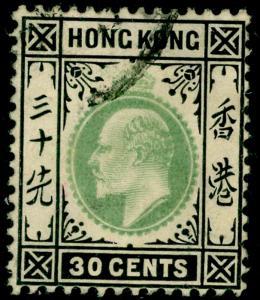 HONG KONG SG84a, 30c dull green & black, USED. Cat £20.