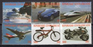 Central African 2012 Trains/Concorde/Ships/Bike Set (6) PERFORATED MNH