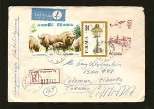 Poland Multiple Stamp 1982 Registered to Canada Cover