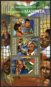 Central African Republic Nelson Mandela Stamps 2015 MNH Famous People 3v M/S