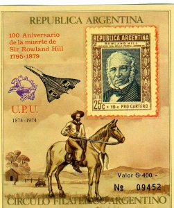 Argentina 1990 CONCORDE ROWLAND HILL s/s Imperforated  Mint (NH)
