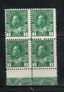 Canada #104 Mint Fine Never Hinged Block With Lathework B