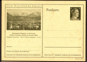 GERMANY 1941 6pf HITLER HEAD Learn to Know Germany Postal Card 41-3-1-B19 Unused