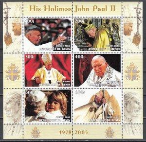 Benin, 2003 Cinderella issue. Pope John Paul II sheet of 6.