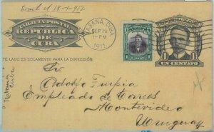 86004 - HAVANA - POSTAL HISTORY -  Postal STATIONERY CARD  to URUGUAY 1911