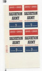 United States, 1267, 5c Salvation Army Plate Block of 4 #28113 LL, MNH