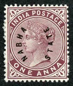 ICS NABHA SG2 1885 1a Brown Purple Mint (no gum) Scarce