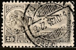 MEXICO C62, 20cents ARMS & PLANE RE-ISSUE. USED.  F-VF. (1008)