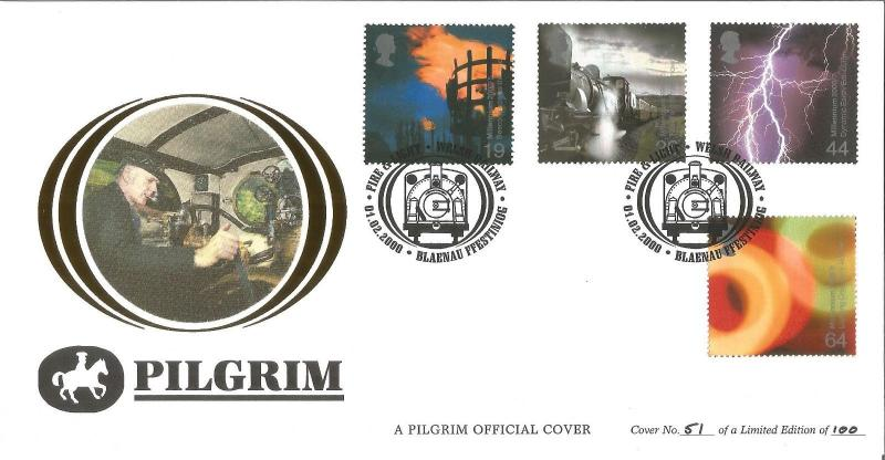 Fire & Light Welsh Railway Pilgrim Official FDC 2000 No. 51/100 Z1796