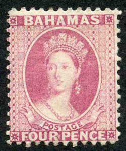 Bahamas SG41 4d rose wmk Crown CA perf 12.5 m/mint
