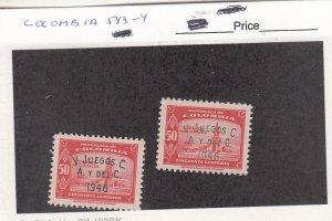 J26301 jlstamps 1946 colombia mh set #543-4 ovpt,s