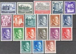 Stamp Germany Poland General Gov't Year 1941 Mi 063-82 Set WWII War Krakow MNH