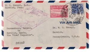 1930 Brazil Graf Zeppelin cover to USA Around the World FLight