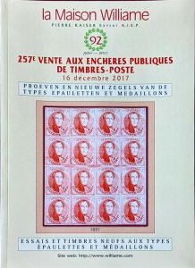 Auction Catalogue Poeven en Nieuwe Zegels van de Types EPAULETTEN et MEDAILLONS