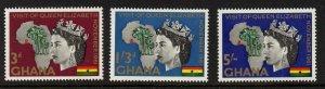 Ghana 107-9 MNH Queen Elizabeth, Map, Royal Visit