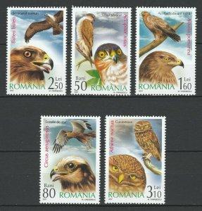 Romania 2007 Birds of prey 5 MNH stamps