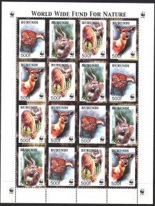 Burundi. 2004. Small sheet 1867-70. Antelopes, WWF, fauna. MNH.