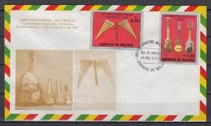 Bolivia, Scott cat. 751-752. Music Instruments on Cachet First day cover. *