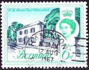 BERMUDA 1962 QEII 6d Grey Blue, Emerald & Light Blue SG168 Used