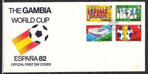 Gambia, Scott cat. 443-446. World Cup Soccer issue on a First day cover.